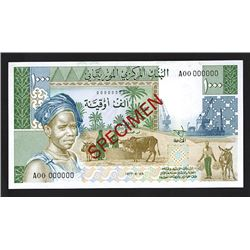 Central Bank of Mauritania, 1977 Unissued Specimen Note