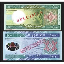 Central Bank of Mauritania, 2013-2014 Pair of Specimen Notes