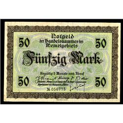 Handelskammer des Memelgebiets, Chamber of Commerce, Territory of Memel, 1922 Issue Banknote.