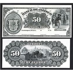 Banco De Jalisco ca.1902-1914 Proof Black & White Banknote.