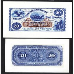 Banco de Londres Mexico y Sud America Proof Front and Back Color Trials. (CA 1868-81).
