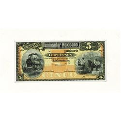 Banco Peninsular Mexicano, 19xx (ca.1914) Proof Banknote.