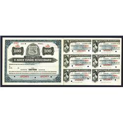 Bono De Caja, El Banco Espanol Refaccionario ND ca.1900-1909 Specimen Circulating Bond.