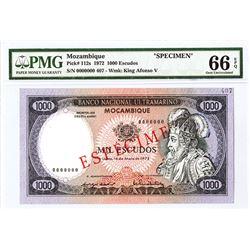 Banco Nacional Ultramarino, Mocambique, 1972 Specimen Banknote.