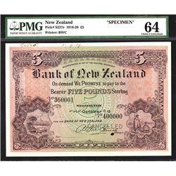 Bank of New Zealand, 1918 Specimen Banknote.