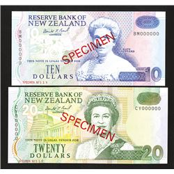 Reserve Bank of New Zealand, 1992-97 ND Issue Specimen Pair with Different Prefixes.