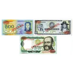 Banco Central de Reserva Del Peru, ca. 1977-1982 Specimen Banknote Trio.