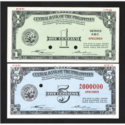 Central Bank of the Philippines,  1949 Issue Color Trial Essay Banknote Pair.