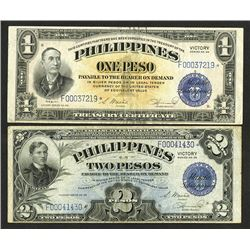 Philippines Treasury Certificate Victory Series No. 66, Star Note Replacement Pair.