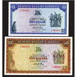 Reserve Bank of Rhodesia. 1971-72 Issue Pair.