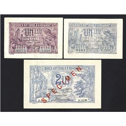 Banca Nationala A Romaniei, 1920 and 1938 Specimen and Issued Banknotes.