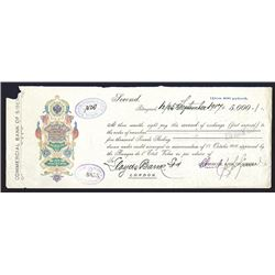 Commercial bank of Siberia. 5000 Pound Check. 1917.