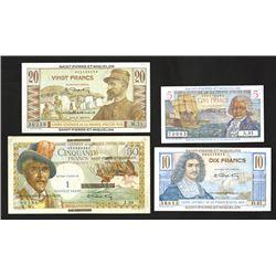Caisse Centrale De La France D'Outre-Mer, 1950-60's Banknote Quartet.