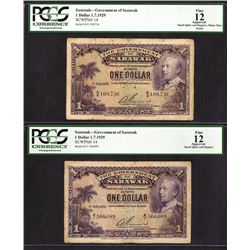 Government of Sarawak, 1929 Issue Banknote Pair.