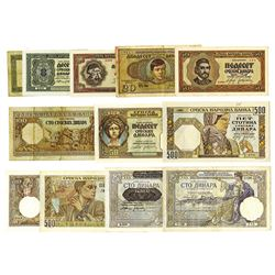 Serbian National Bank, 1941-43, WWII Era Issued Note assortment.