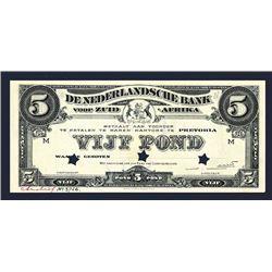De Nederlandsche Bank Voor Zuid Afrika Specimen Banknote.