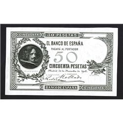 Banco De Espana, 1902 Issue Proof or Progress Specimen Banknote Rarity.