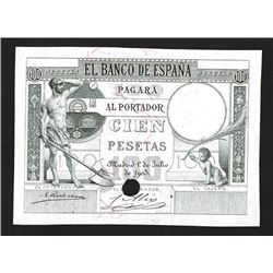 Banco De Espana, 1903 Issue Proof or Progress Specimen Banknote Rarity.