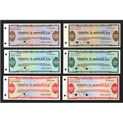Turkiye s Bankas A.S, ca. 1950-70 Specimen Traveler's Check Assortment.