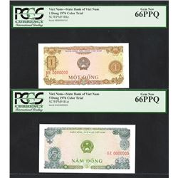State Bank of Viet Nam, 1976 Color Trial Specimen Pair.