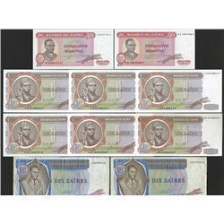 Banque du Zaire. 1977-80 Issues Lot of 10 Notes.
