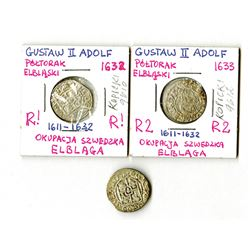 Poland, Elbing under Swedish Authority, 1632-1633, Trio of 1/24 Taler Coins