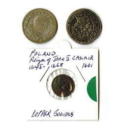 Poland, John Casimir II and Jan III Sobieski, 1661-1682, Trio of Silver Coins