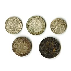 Poland, Sigismund I and II, 1507-1548, Quintet of Silver Coins