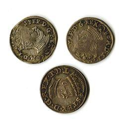 Poland, Stephan Bathori, 1581-1586, Trio of Silver Coins
