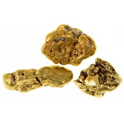 Three Nome, Alaska Gold Nuggets