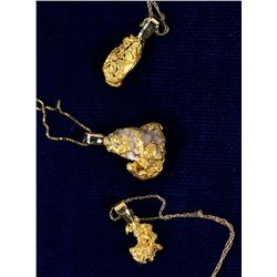 Three Gold Nugget Necklaces