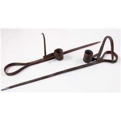 Two Long Blacksmith Construction Candlesticks