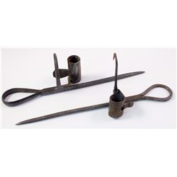 Two Nice Blacksmith Style Miners Candlesticks