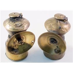 Two Small Brass Baldwin Carbide Lamps