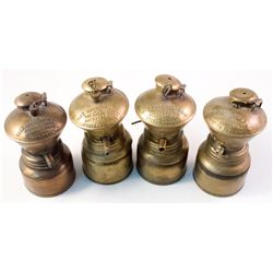 Four Small Size Baldwin Carbide Lamps