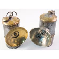 Two Nickel-Plated Brass Butterfly Carbide Lamps