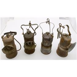 Four Dewar Superintendent-Style Carbide Lamps