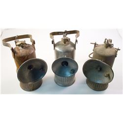 Three Dewar Superintendent-Style Carbide Lamps