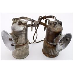 Two Dewar Superintendent-Style Carbide Lamps
