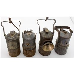Four Justrite Superintendent-Style Carbide Lamps