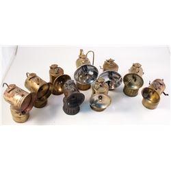 Nine Different Justrite Carbide Lamps