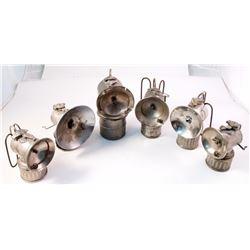 Six Justrite Mining Carbide Lamps