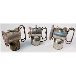 Three Different Justrite Handheld Carbide Lamps