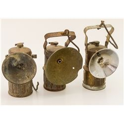 Three Superintendent Style Carbide Lamps