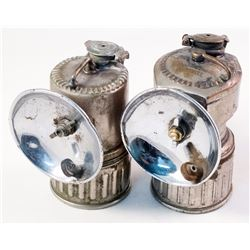 Two Early Top Marked Justrite Carbide Lamps