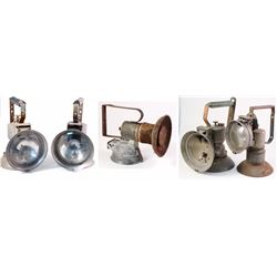 Five Large Handheld Possible Carbide Railroad Lamps