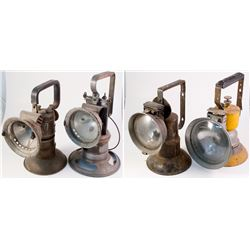 Four Different Large Handheld Carbide Lamps