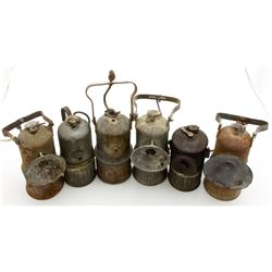 Six Miscellaneous Superintendent Style Carbide Lamps