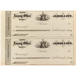 Two Receipts for James. J. Ott, Nevada Assay Office