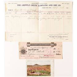 Cripple Creek Assay Memorandum (plus a check & postcard)